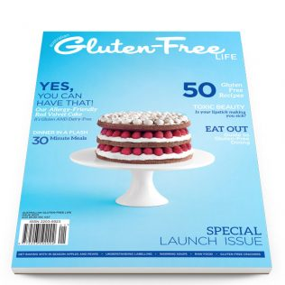 Launch issue of AGFL magazine with gluten-free red velvet cake.