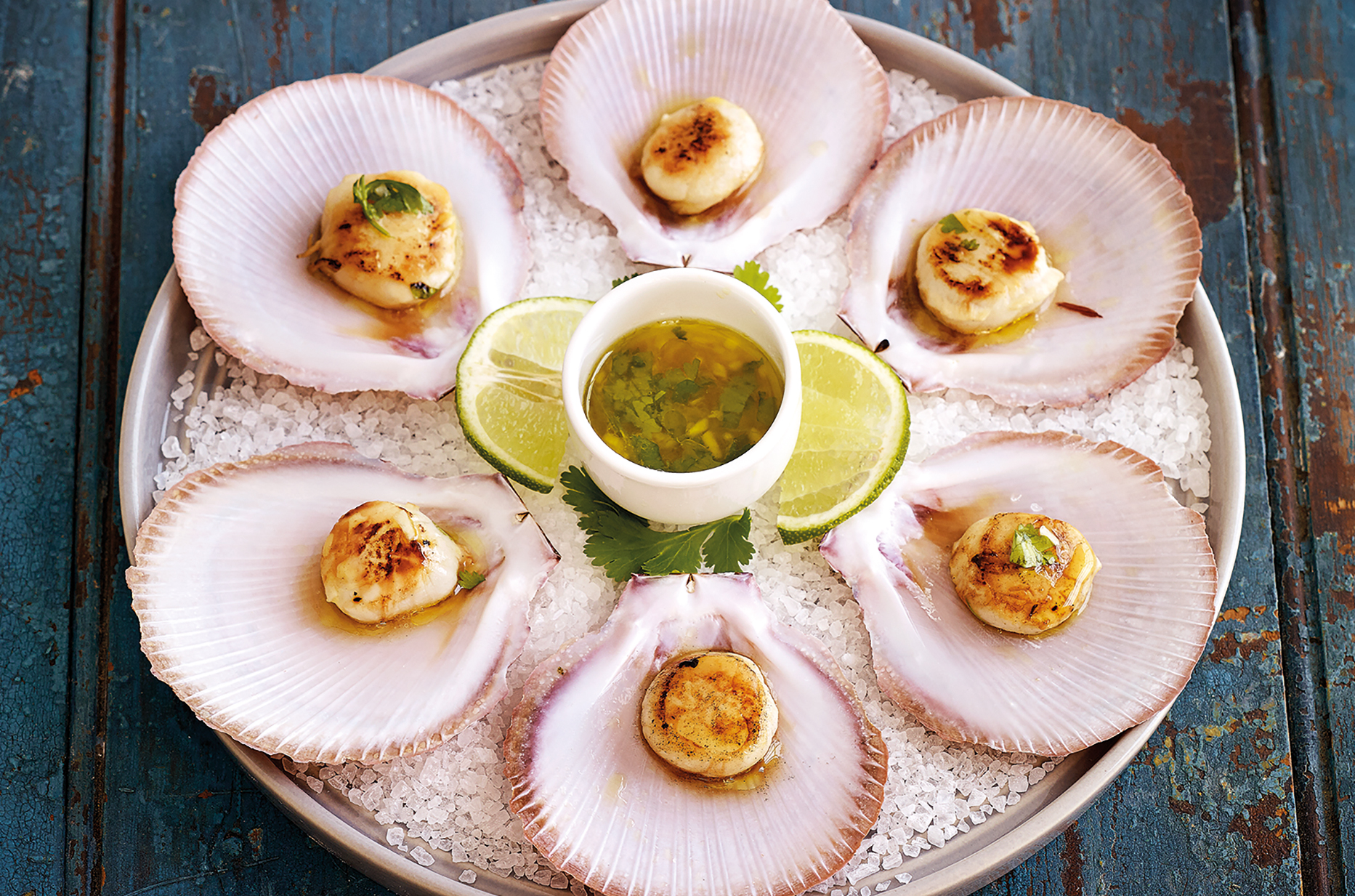 Grilled scallops in a half shell with dressing on a platter