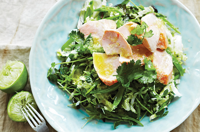 Grilled salmon with crunchy cabbage salad