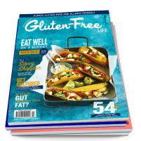 Issue 14 cover of Australian Gluten-Free Life magazine featuring budget recipes including fish tacos