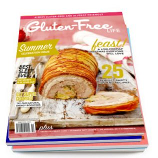 Gluten-Free Food Magazine with Christmas Recipes on cover.