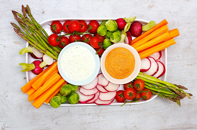 Capsicum Dip with Vegetable Crudites