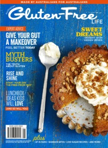 Issue 16 of Australian Gluten-Free Life magazine featuring a gluten-free candied walnut pie made from pumpkin.