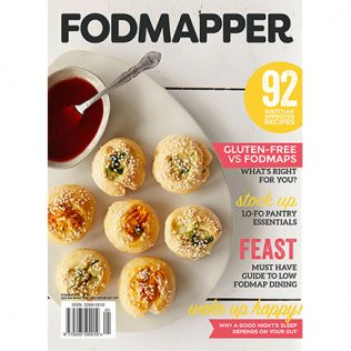 FODMAPPER Magazine issue two cover featuring low FODMAP baked vegetable dumplings and serving sauce.