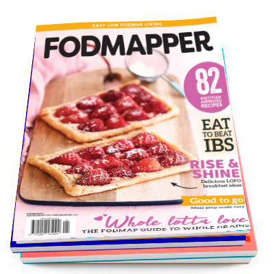 Low Fodmap Magazine with Gluten-Free, Fodmap FriendlyStrawberry Tarts on the cover.