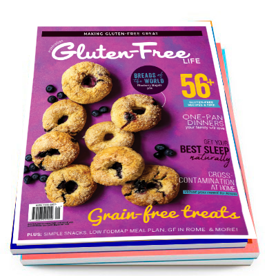 Issue 25 of Australian Gluten-Free Life magazine with gluten-free blueberry bagels on a pink background.