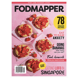 Low FODMAP magazine with low FODMAP and gluten-free strawberry and custard tarts
