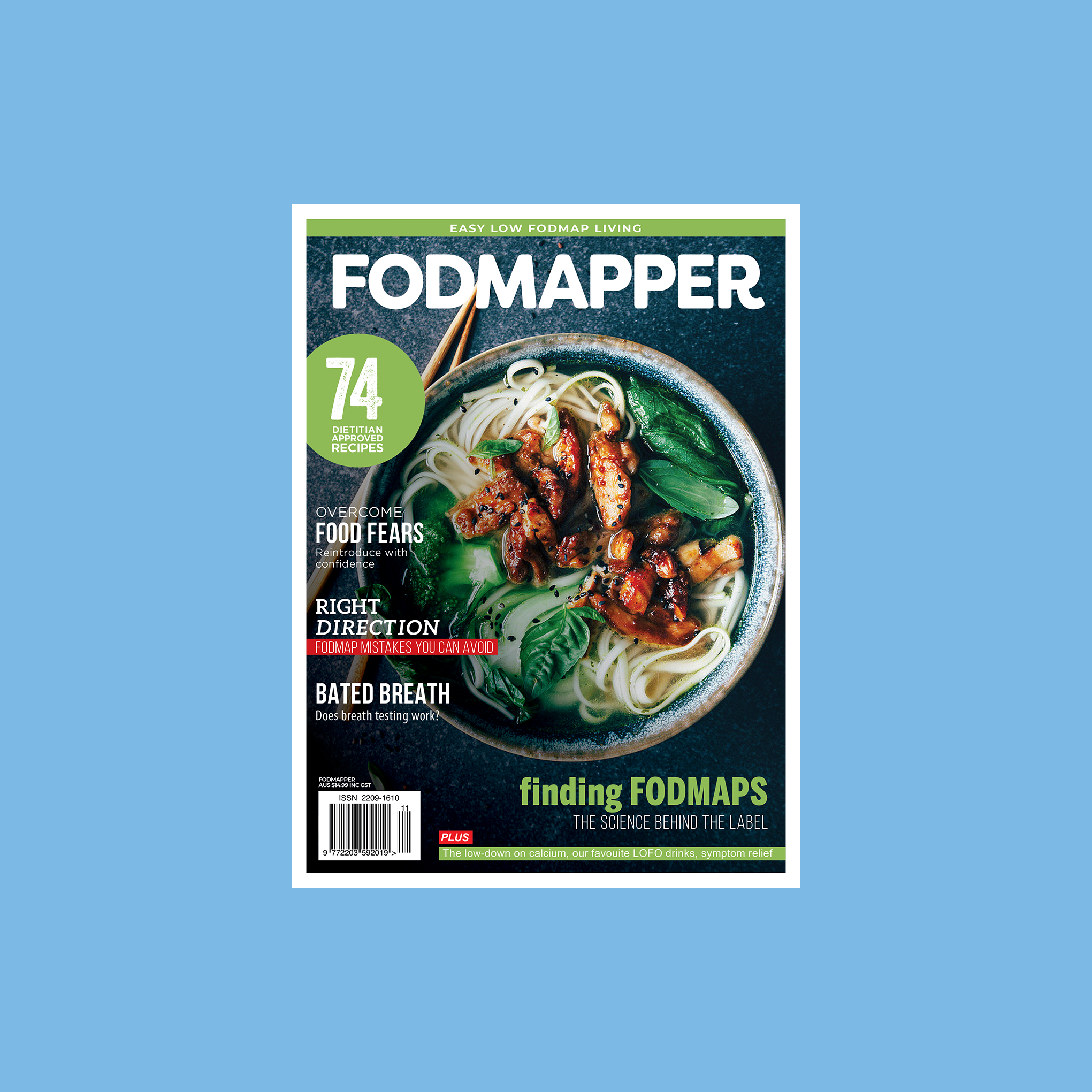 Low FODMAP magazine FODMAPPER Issue 11 cover with a bowl of low FODMAP noodle soup with spicy chicken in dark bowl.
