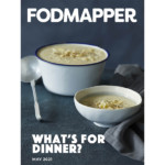 Low FODMAP ebook cover for FODMAPPER magazine featuring large pot and single bowl of cheesy potato soup on a dark blue background with grey napkin.