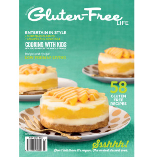 Issue 3 of Australian Gluten-Free Life magazine summer edition featuring 3 individual dairy-free mango ice-cream cakes on the cover.