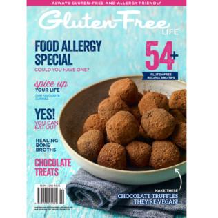 Issue 13 of Australian Gluten-Free Life magazine with vegan chocolate truffles in a ceramic bowl on a dark blue napkin.